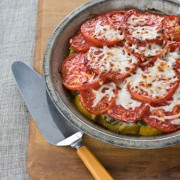 Свинина запеченная под шубой из перцев и помидор