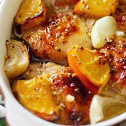 Курица в медово-горчичном маринаде с апельсинами