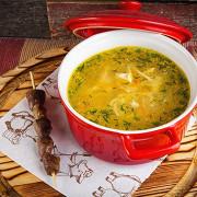 Куриный суп с домашней лапшой и потрошками