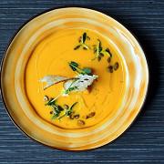 Тыквенный суп с чипсами из чиабатты