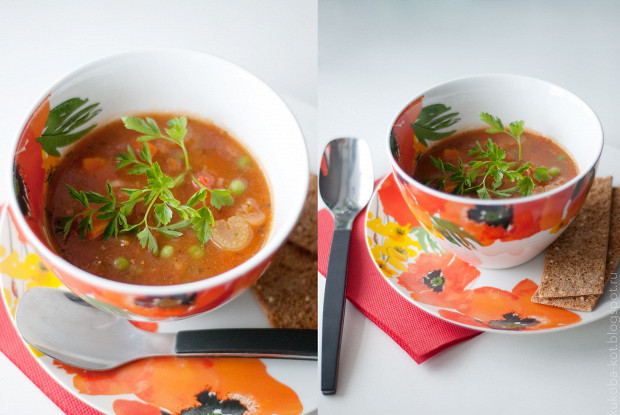 Густой овощной суп со спаржей