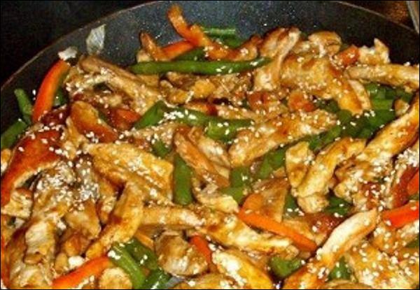 Куриное филе с грибами и фасолью