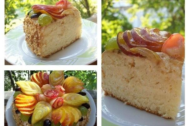 Бисквитный торт со сливочно-яблочным кремом