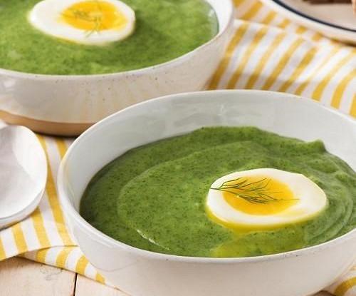 Зеленый суп-пюре со сливочным сыром