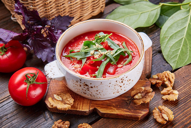Холодный томатный суп с абхазскими помидорами