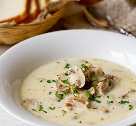 Грибной суп с курицей  и тыквой