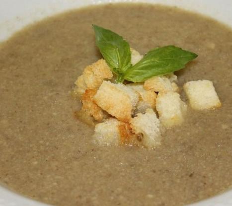 Крем суп из баклажанов с креветками