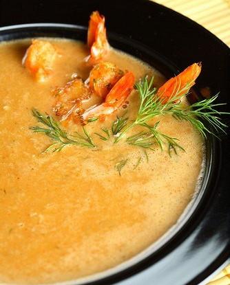 Пряный новогодний тыквенный суп с креветками