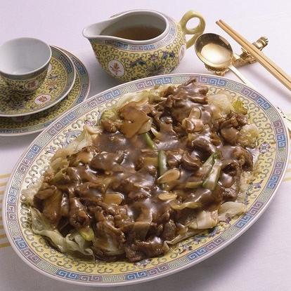 Жареная говядина со спаржей и грибами