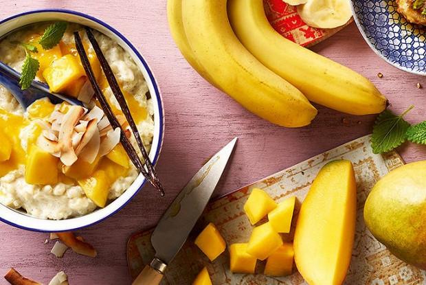 Рисовый пудинг с соусом из манго