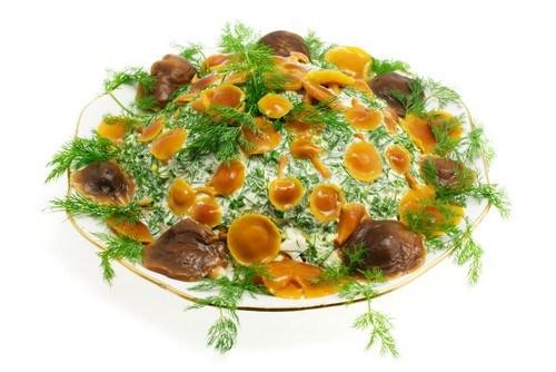 Салат из грибов с сырной заправкой и зеленью