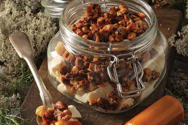 Ромашковая дрожалка с карамельными орехами и облепихой