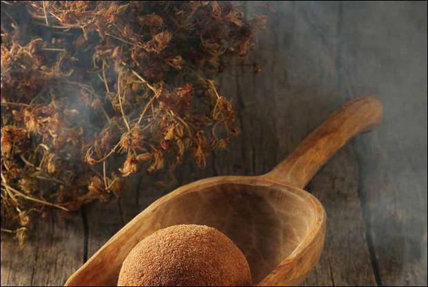 Картофельный колобок с копченым гусем