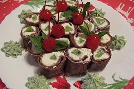 Шоколадные роллы с творогом и мятным «васаби»