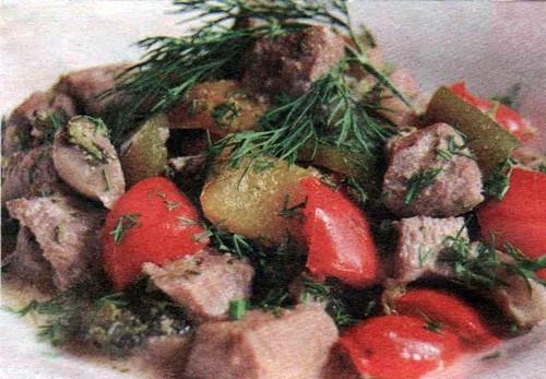 Соте из индейки с грибами