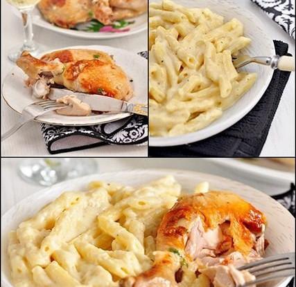 Жареная курица с чесночным соусом и пенне в сырно-сливочном соусе