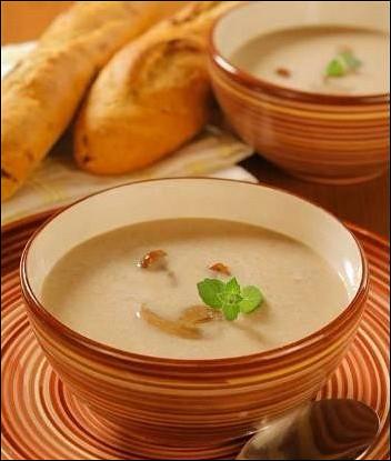 Суп-пюре из фасоли с грибами