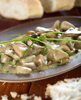 Тушеные грибы в соусе из сидра