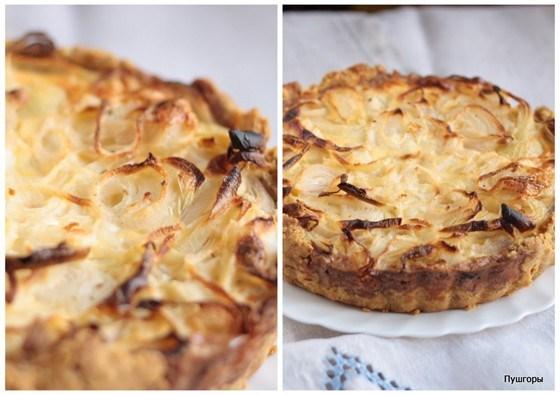 Луковый пирог со сметанной заливкой