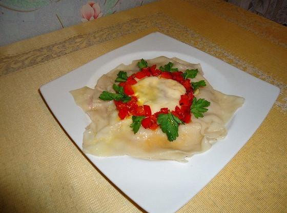 Равиоль с козьим сыром