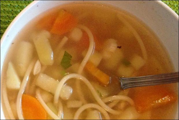 Суп куриный со спагетти