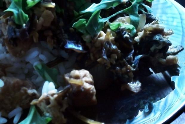 Рис с заправкой из тофу, лука и древесных грибов