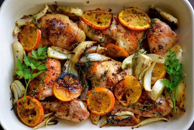 Курица, запеченная с апельсинами (или мандаринами)