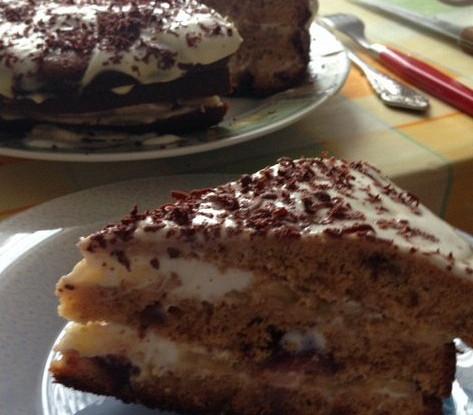 Нутовый торт с черешней, бананом и йогуртом