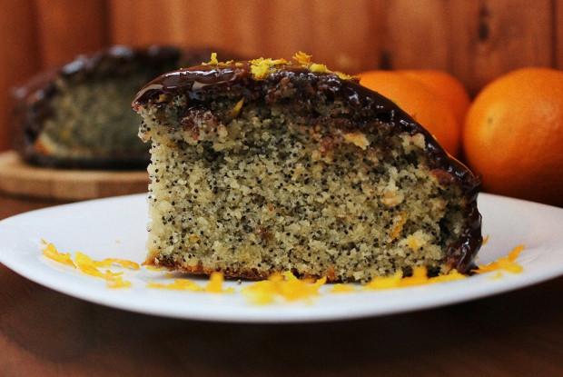 Апельсиновый пирог с маком и цитрусовой глазурью