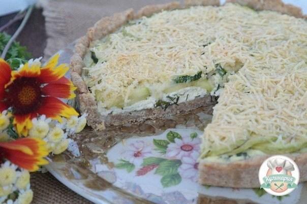 Тарт с кабачками и творогом