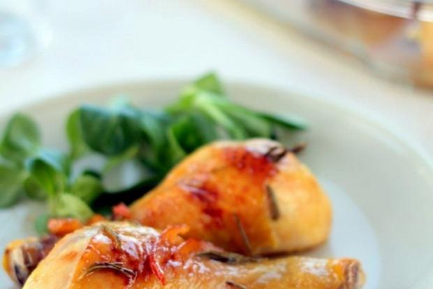 Запеченая курица с апельсиновым мармеладом и корицей