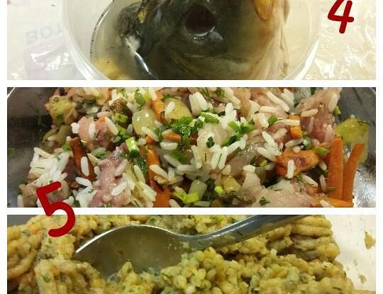Карп, фаршированный рисом с овощами и сыром