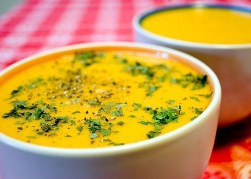 Овощной суп-пюре с сыром и рисом