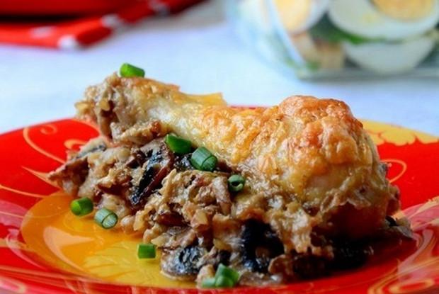 Гречка с курицей, запеченная в сливках