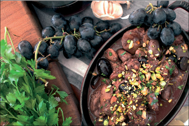 Потрошки с виноградом