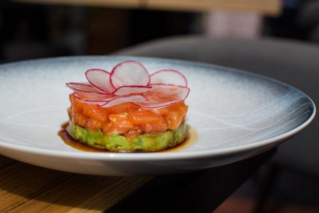 Тартар из лосося с пюре из авокадо и редисом
