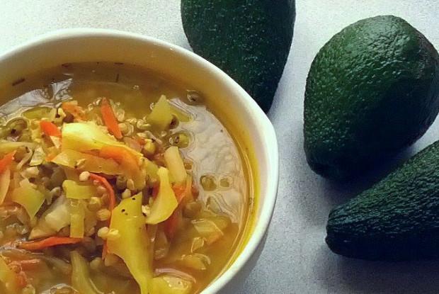 Овощной суп с зеленой гречкой