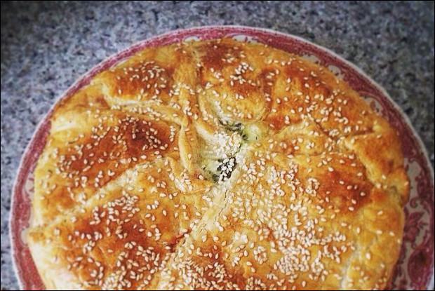 Пирог c кабачками и щавелем