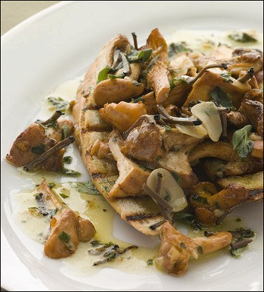 Теплый салат с грибами и зеленью