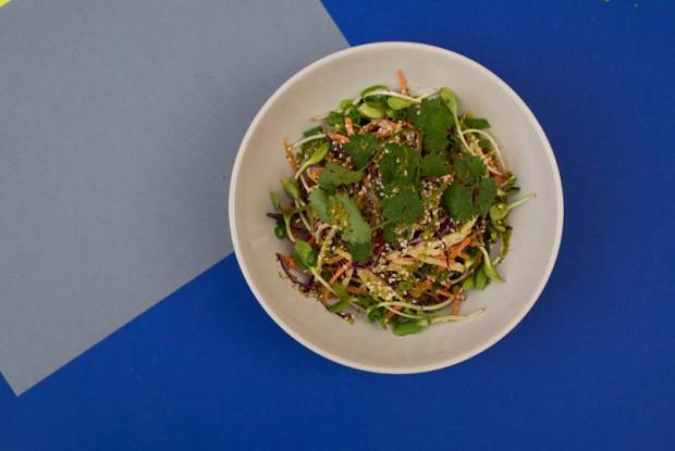 Салат из краснокачанной капусты с фруктами