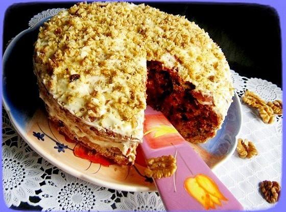 Торт из свеклы с грецкими орехами