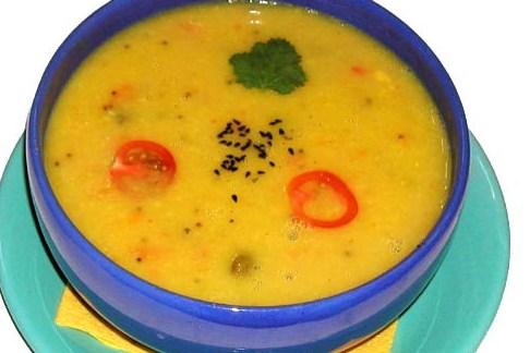 Суп-пюре из чечевицы со сладким перцем