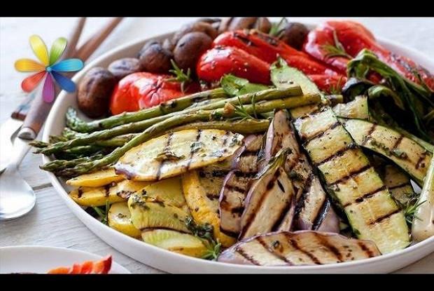 Овощи-гриль с песто