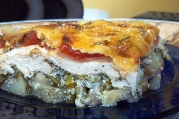 Куриная запеканка с картофелем и грибами «по-французски»