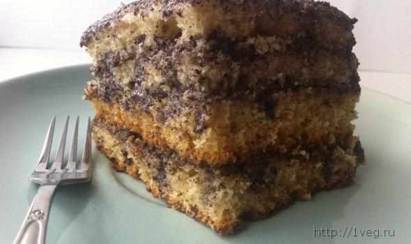 Бисквитный торт без яиц с творожной прослойкой