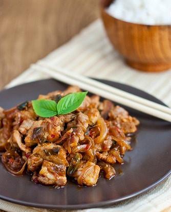 Кисло-сладкая свинина с рисом