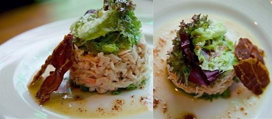 Салат из авокадо и крабового мяса под кедровым соусом с гренкой из хамона