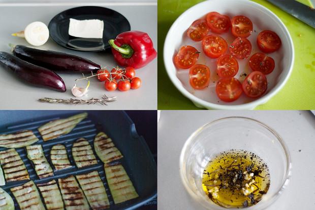 Теплый салат из баклажанов и болгарского перца с фетой
