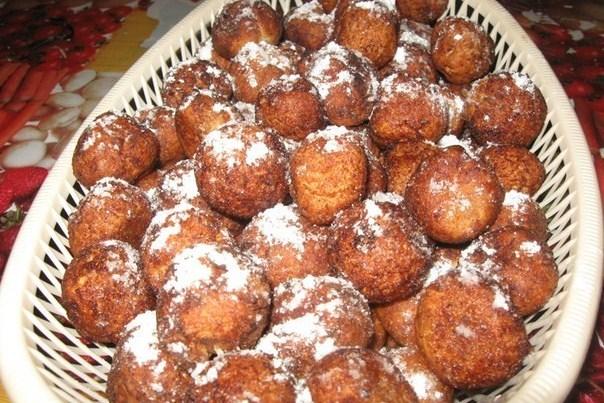 Пончики творожные с ванилью