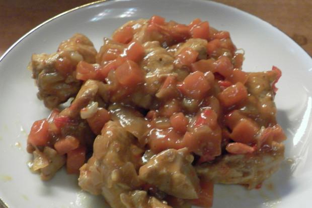 Индейка с овощами в густом соусе